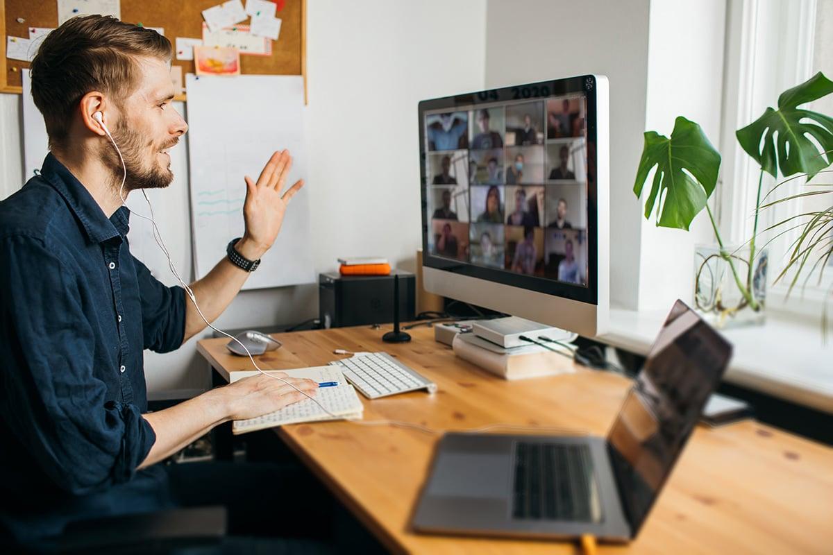 Man talking during a virtual meeting